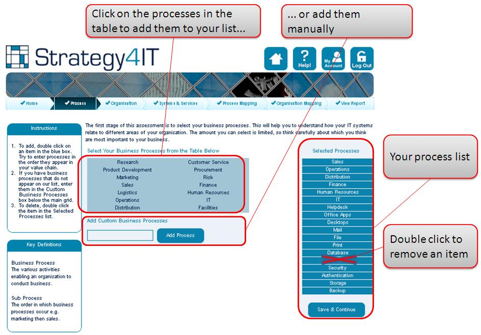 Step 2 - Enter Your Business Processes